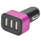 Universal 3-Port USB Car Charger Adapter - Black + Deep Pink