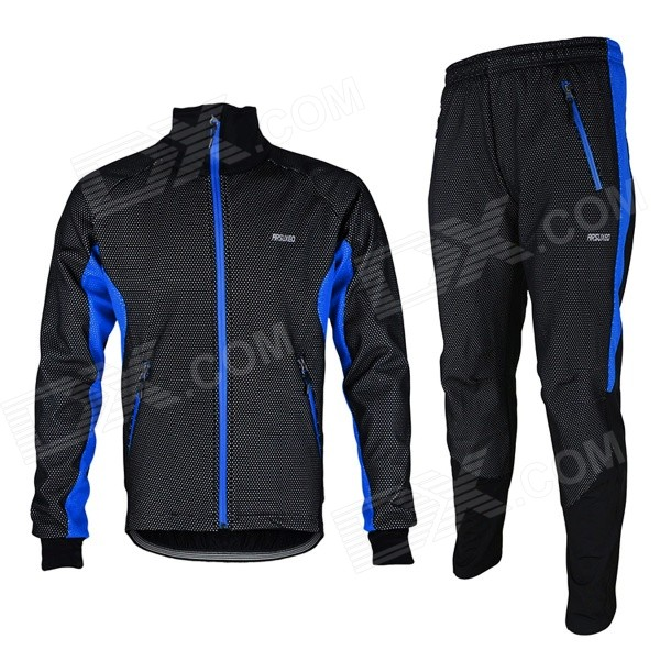 ARSUXEO AR14-A Men's Cycling Breathable Warm Long Jersey Top + Padded Pants Set - Black + Blue (XL) arsuxeo ar14 a men s cycling breathable warm long jersey top padded pants set black blue xl
