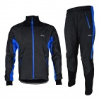 ARSUXEO AR14-A Men's Cycling Breathable Warm Long Jersey Top + Padded Pants Set - Black + Blue (XL)