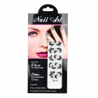 Buy MZ01124 3D Butterflies Pattern DIY Shimmering Nail Decorative Stickers - Black + Silver (12 PCS)