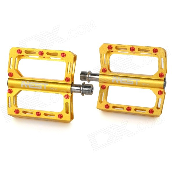 AEST YMPD-10T Ultra Light Aluminium Magnesium Alloy Pedals for Road / Mountain Bikes - Golden (Pair) aest ympd 09t aluminum magnesium alloy bicycle pedal black pair