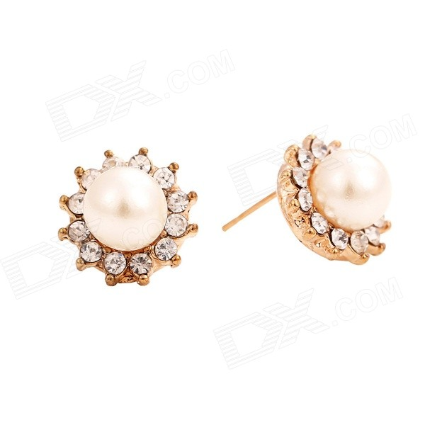 Women's Fashionable Artificial Pearl & Rhinestone Studded Earrings Ear Studs - Golden + White rhinestone artificial pearl bows earrings