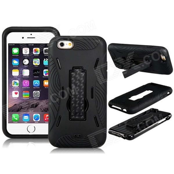 3-in-1 PC Hard Case Armor w/ Stand for IPHONE 6 - Black ucase ultrathin luxury edge design 3 in 1 circle cover hard plastic case for iphone 6 6s 4 7 inch