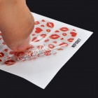 MZFS527 3D Heart + Lip Pattern DIY Shimmering Nail Decorative Stickers - Red + Silver (12 PCS)