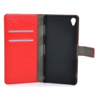 DULISIMAI Protective Flip-Open PU + PC Case Cover w/ Stand + Card Slot for Sony Xperia Z3 - Red