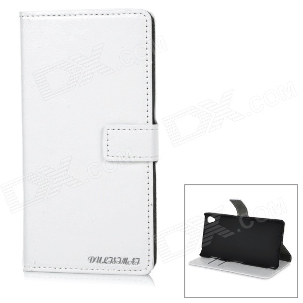 DULISIMAI Protective Flip-Open PU + PC Case Cover w/ Stand + Card Slot for Sony Xperia Z3 - White
