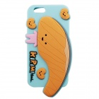 "3D Salmon Pattern Protective Silicone Back Case w/ Dust Plug for IPHONE 6 4.7"" - Light Yellow + Blue"