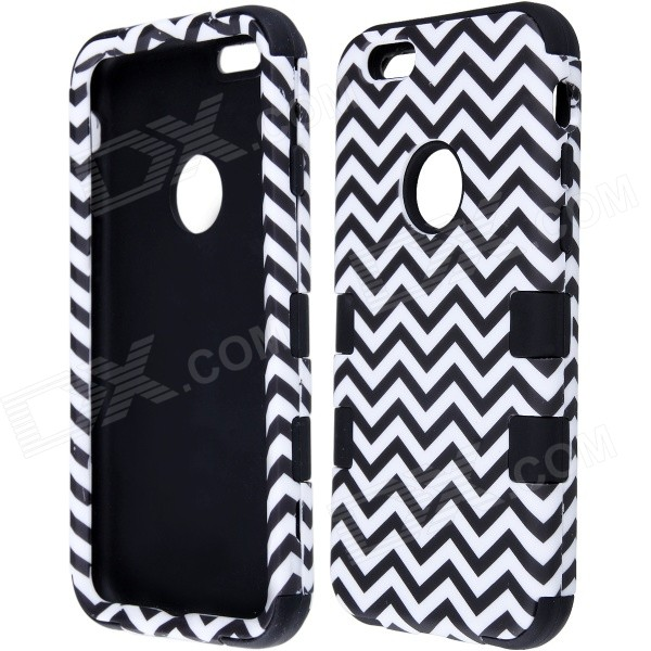3-in-1 Wave Pattern Protective PC + Silicone Back Case Cover for IPHONE 6 - White + Black dulisimai protective aluminum silicone back case cover for iphone 6 black silvery white