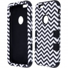 3-in-1 Wave Pattern Protective PC + Silicone Back Case Cover for IPHONE 6 - White + Black