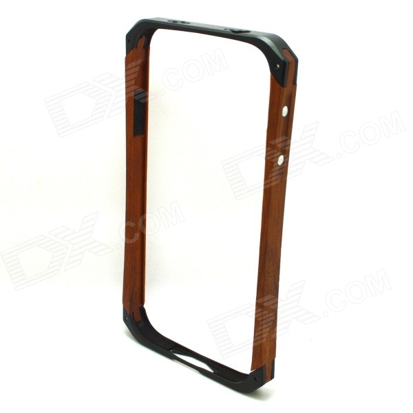 Lithium Alloy + Wooden Bumper Frame w/ Volume Button Shell Case for Samsung Galaxy S4