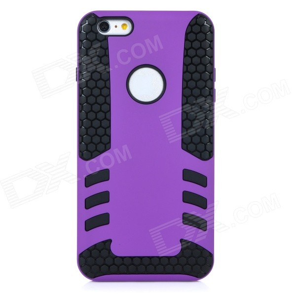 2-in-1 Protective TPU Back Case Cover for IPHONE 6 PLUS - Purple + Black protective pc tpu back case for iphone 5 w anti dust cover lavender purple