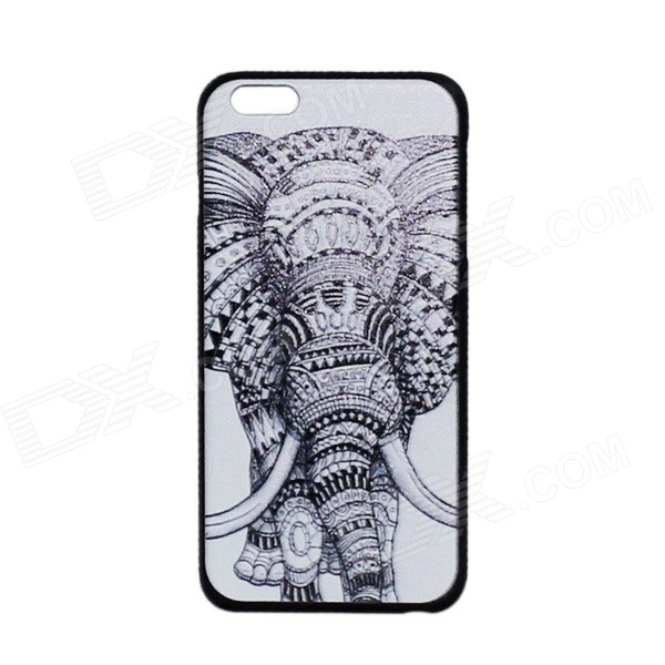 Elephant Pattern Protective PC Back Case Cover for IPHONE 6 PLUS 5.5 - White + Black iface mall for iphone 6 plus 6s plus glossy pc non slip tpu shell case black
