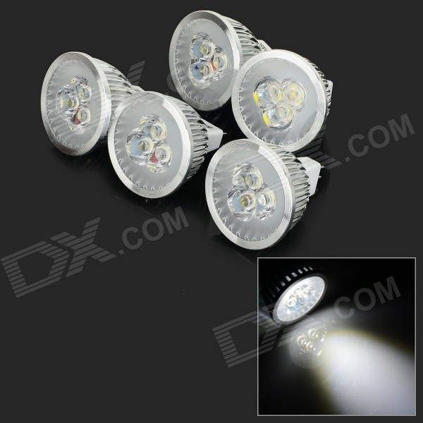 JRLED MR16 3W 270lm 6500K 3-LED White Light Spotlights - Silver (5 PCS / DC 12V)