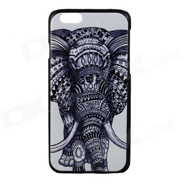 Elephant Pattern Protective PC Back Case Cover for IPHONE 6 4.7 - White + Black