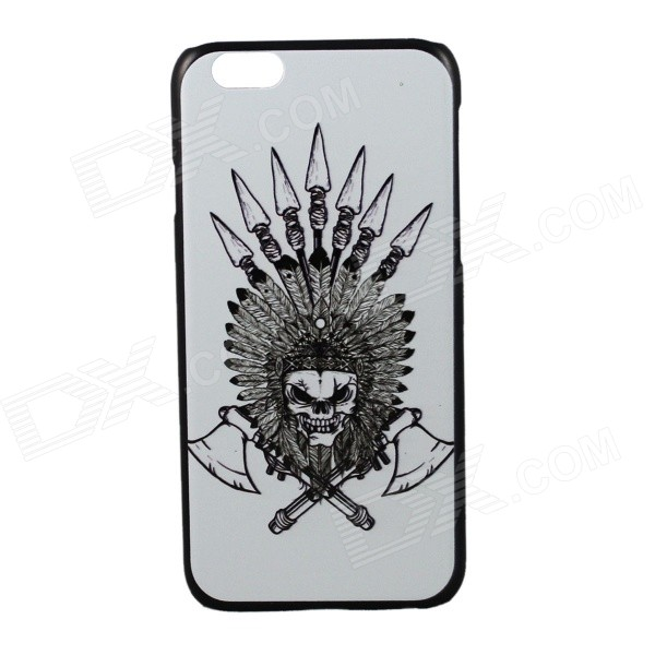 Double Axes Skull Pattern Protective PC Back Case Cover for IPHONE 6 4.7 - White + Black fema for iphone 6s plus 6 plus front back 6d colorful laser tempered glass screen films colorful geometric pattern