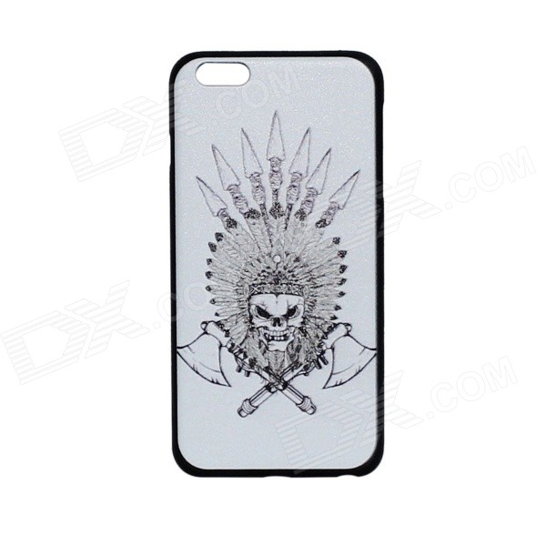 Double Axes Skull Pattern Protective PC Back Case Cover for IPHONE 6 PLUS 5.5 - White + Black iface mall for iphone 6 plus 6s plus glossy pc non slip tpu shell case black