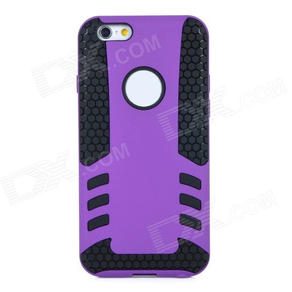 2-in-1 Protective TPU Back Case Cover for IPHONE 6 - Purple + Black glossy tpu gel back protection case for iphone 7 plus light purple