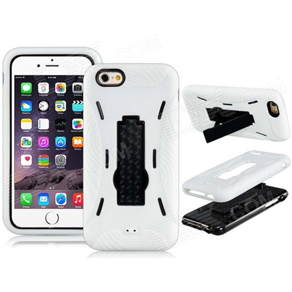 3-in-1 PC Hard Case Armor w/ Stand for IPHONE 6 - White fierce tiger hard case cover for iphone 6s 6 4 7 inch