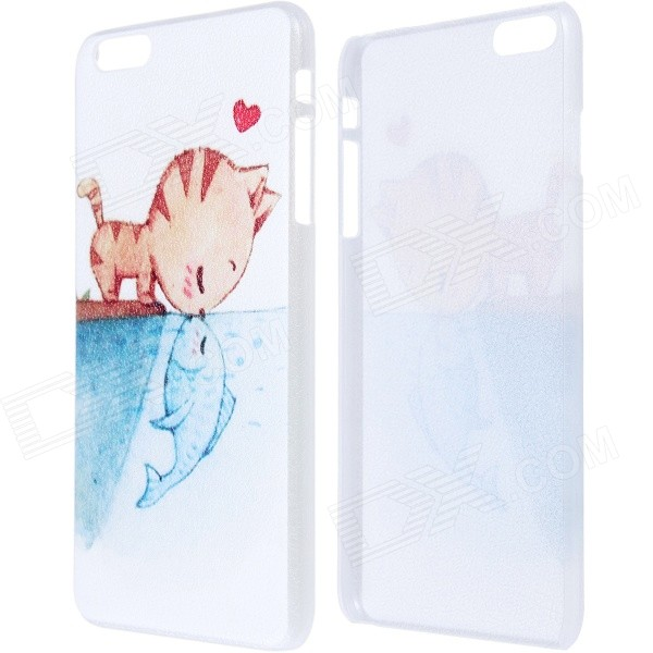 Cat Kisses Fish Pattern Protective PC Back Case for IPHONE 6 PLUS 5.5 - White + Blue 3d cartoon cat kisses fish pattern protective abs back case for iphone 6 plus white green