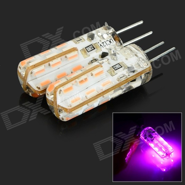JRLED G4 2W 70lm 610nm 24 SMD Lâmpadas LED 3014 Rosa Crystal - Branco + Transparente (2 PCS / DC 12V)