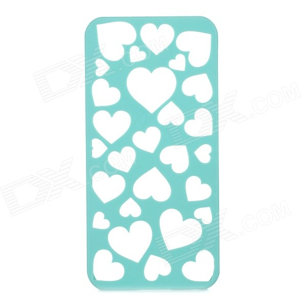 Protective Hollow-Out Cooling Breathable Heart Style PC Back Case Cover for IPHONE 5 / 5S - Green protective heart shape rhinestone decoration back case for iphone 5 brown