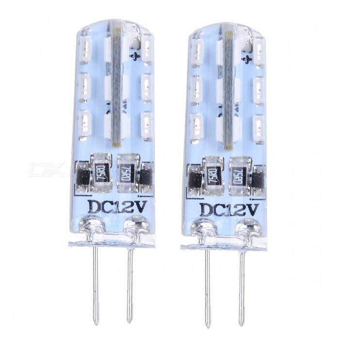 JRLED G4 2W 70lm 635nm 24-SMD 3014 LED Red Crystal Light Lamps - White + Transparent (2 PCS / DC12V)