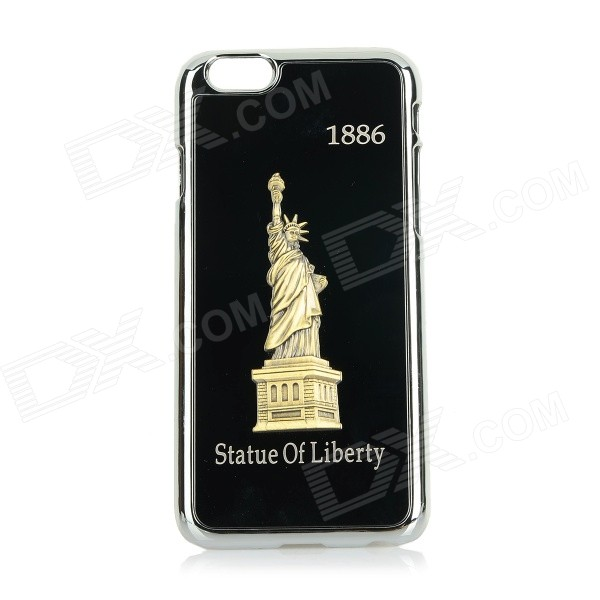 Statue of Liberty Patterned Titanium Alloy + Plastic Back Case Cover for IPHONE 6 - Black tpu imd patterned gel cover for iphone 7 4 7 inch dream catcher