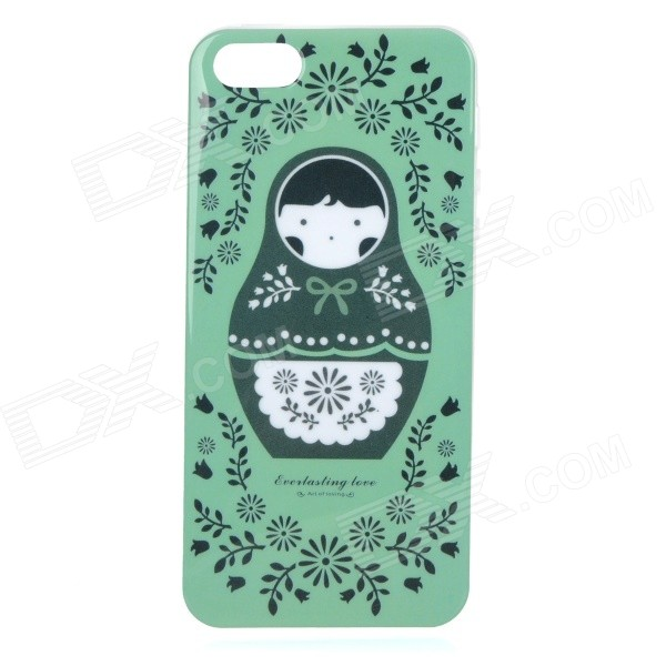Protective Patterned TPU Back Case Cover for IPHONE 5 / 5S - White + Black + Green protective pc tpu back case for iphone 5 w anti dust cover lavender purple