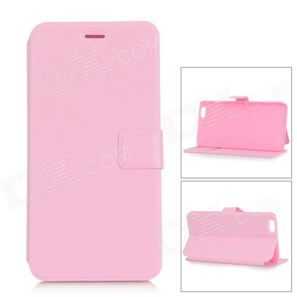 Silk Pattern Ultra-thin Protective Flip-Open PU Leather Case w/ Stand for IPHONE 6 PLUS - Pink protective flip open pu case w stand card slot for iphone 5 5s pink