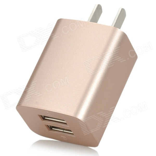 iznc znc-021 Universal Dual-USB AC Power Charger Adapter for IPHONE / IPAD - Gold (US Plug) iznc znc 021 universal dual usb ac power charger adapter for iphone ipad white us plug