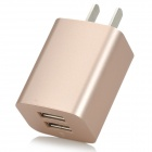 iznc znc-021 Universal Dual-USB AC Power Charger Adapter for IPHONE / IPAD - Gold (US Plug)