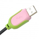 USB Male to Micro USB Male Data Charging Nylon Cable for Samsung / HTC - Black + Pink (1.3m)