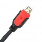 USB Male to Micro USB Male Data Charging Nylon Cable for Samsung / HTC - Black + Red (1.3m)