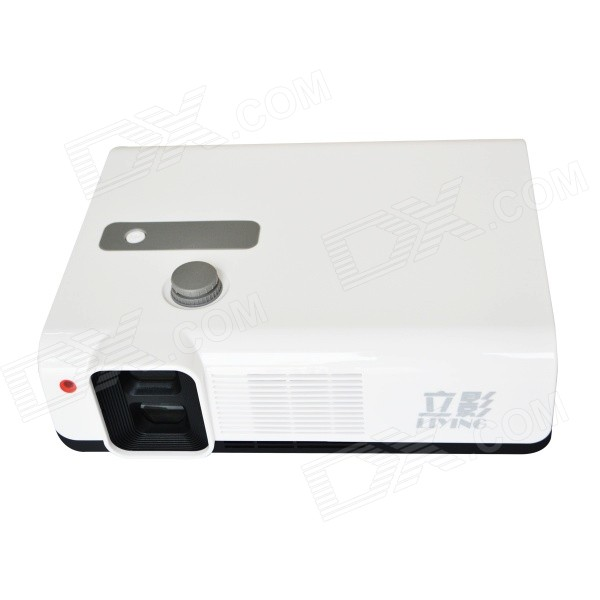 LiYing LY-3D FHD 1080P 2500lm Dual DMD Not-Flash Polarized 3D Projector - White