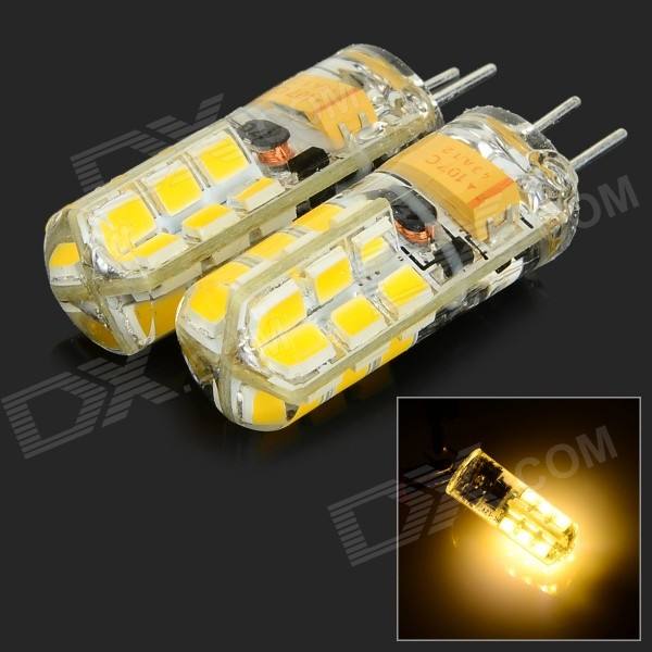 JRLED G4 3W 170lm 3000K 24-SMD 2835 LED Warm White Crystal Lamps - White + Beige (2 PCS / AC/DC 12V)