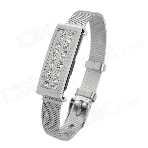 Fashion Rhinestones Decorated USB 2.0 Flash Drive Bracelet - Silver (8GB) usb flash drive 8gb smartbuy v cut silver sb8gbvc s