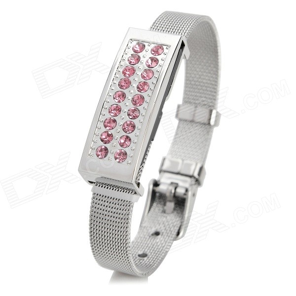 Diamantes de imitación de moda decoración USB 2.0 Flash Drive Pulsera - plata + Pink (8GB)