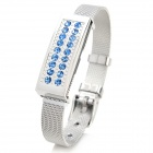 Fashion Strass verziert USB 2.0 Flash Drive Armband - Silber + Blau (8GB)