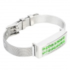 Fashion Rhinestones Decorated USB 2.0 Flash Drive Bracelet - Silver + Green (8GB)