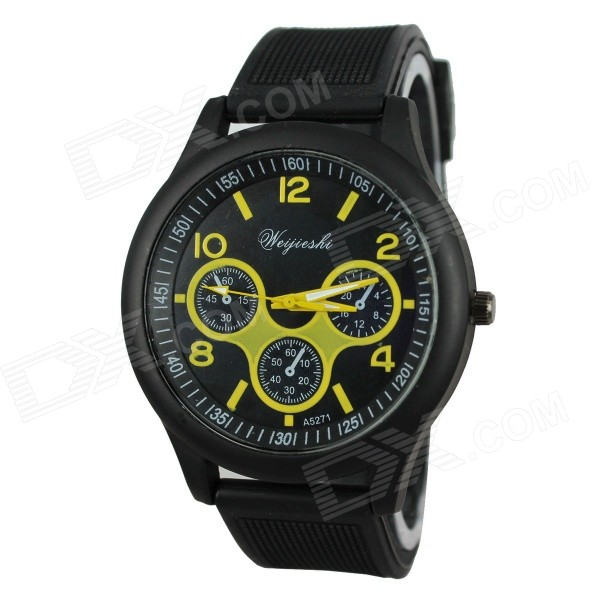 WeiJieShi 5271 Men's Silicone Band Analog Quartz Sports Wrist Watch - Black + Yellow (1 x 377)