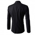 Men's Causal Double-breasted Stand Collar Suit Blazer Coat Jacket - Black (XL)
