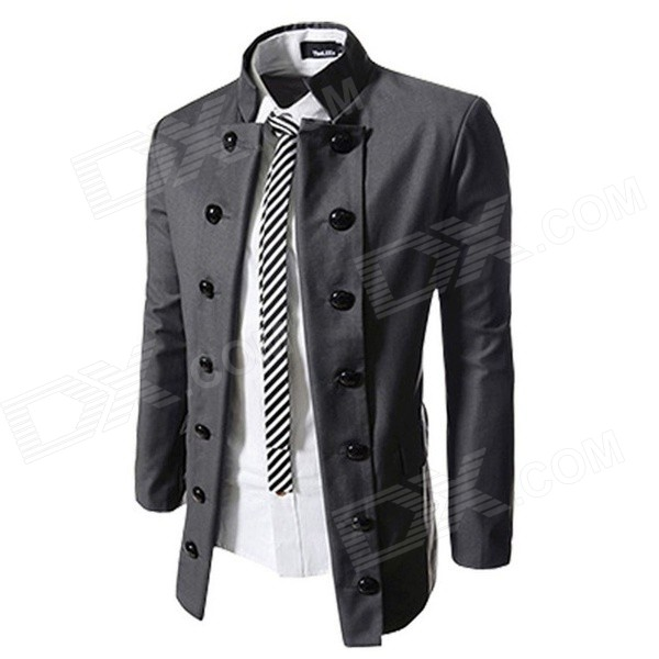 Men's Causal Double-breasted Stand Collar Suit Blazer Coat Jacket - Grey (XL)