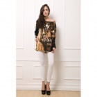 Women's Stylish Tiger Pattern Rhinestone Studded Long Sleeved Cashmere Blouse Top - Black + Brown