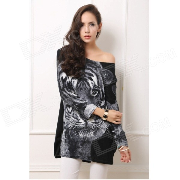 Women's Stylish Tiger Pattern Rhinestone Studded Long Sleeved Cashmere Blouse Top - Black + Grey