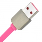 USB 2.0 to Micro USB Male Charging Data Flat Cable - Deep Pink (1m)