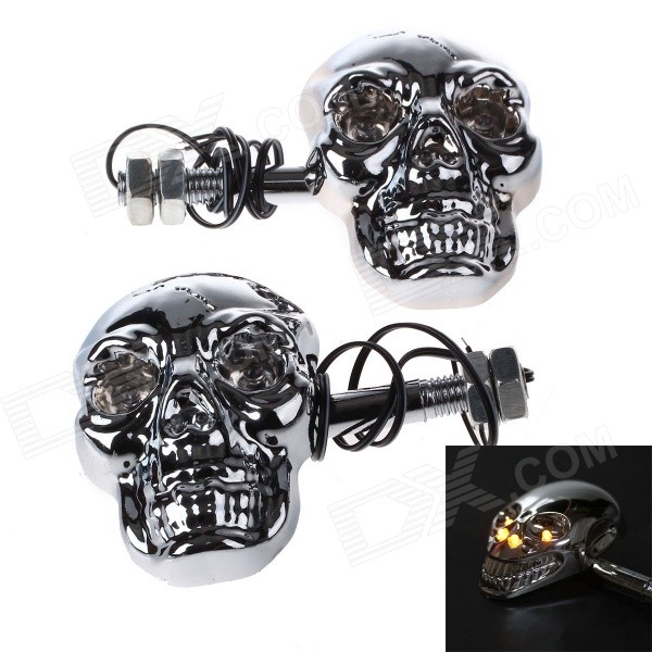 Skull Head Style 1W 60lm 560~590nm 4-LED Yellow Motorcycle Steering Lamps (12V / Pair) skull head style 1w 4 led 60lm yellow light motorcycle steering lamps silver 12v
