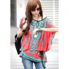 Fashion Loose Retro Milk Fiber Top Shirt w/ Waist Belt for Women - Red + Multi-Color