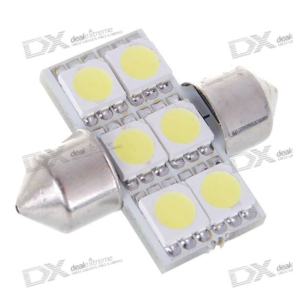 1130 1W 30-Lumen 6x5050 SMD LED Car Festoon White Light Bulb (DC 12~24V) festoon 38mm 0 54w 59lm 3x5050 smd led warm white light car reading tail door lamp 2 pcs