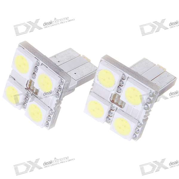 T8 2W 60-Lumen 4x5050 SMD LED Car White Light Bulb (Pair) 2pcs car led license number plate light lamp for ford focus 2 c max white car light source