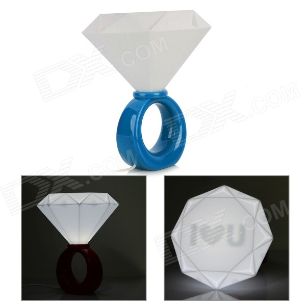 S110 Romantic Birthday Gift Diamond Ring Style LED White Light USB Lamp - White + Blue